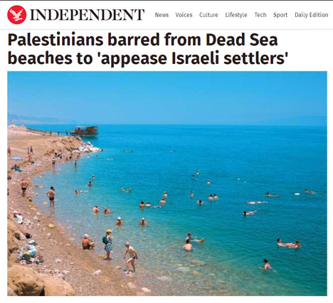Palestinians barred from Dead Sea beaches to appease Israeli settlers