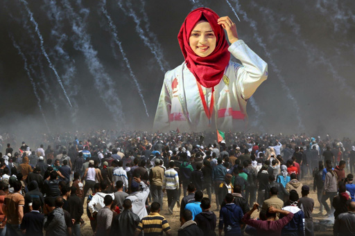 Razan Al Najarr, medic, 21, murdered by Israeli sniper while attending to wounded protestors at the Great March of Return